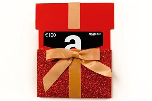 Amazon.de Geschenkgutschein in Geschenkschuber – 100 EUR (rotes Glitzergeschenk)