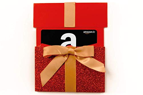 Amazon.de Geschenkgutschein in Geschenkschuber (rotes Glitzergeschenk)