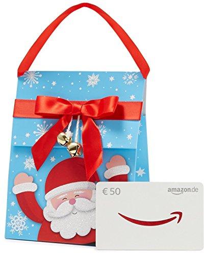 Amazon.de Geschenkkarte in Geschenktasche – 50 EUR (Weihnachtsmann)