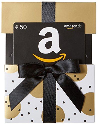 Amazon.de Geschenkkarte in Geschenkschuber – 50 EUR (Gold mit Punkten)