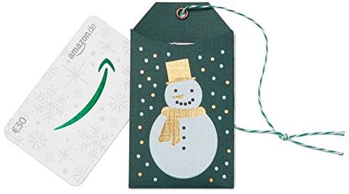 Amazon.de Geschenkkarte in Geschenkanhänger – 30 EUR (Weihnachtlicher Schneemann)