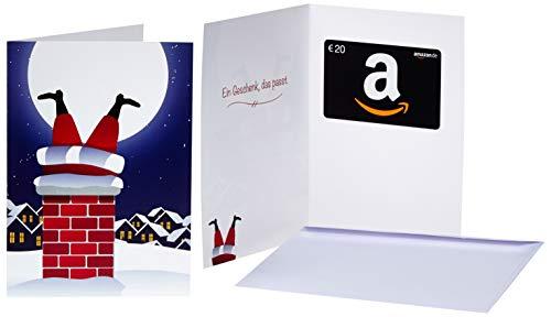 Amazon.de Geschenkkarte in Grußkarte – 20 EUR (Weihnachtsmann im Kamin)